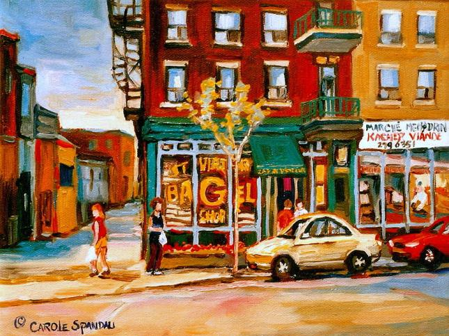 paintings-of-famous-montreal-places-st-viateur-bagel-city-scene-carole-spandau